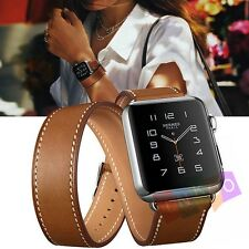 Genuine Leather Herme s Watch Band Double Tour Bracelet Strap For iWatch 38/42mm