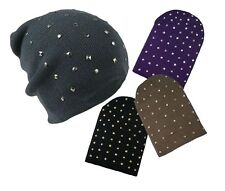 Slouch Hat Beanie Hat Oversize Knit Cap Unisex Adults Studded Stud Skate New UK