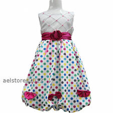 Girls Party Dress Age 3-12 years New Pageant Polka Dots Wedding Pink Blue Green