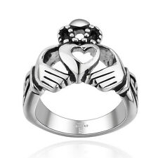 New Womens Stainless Steel Claddagh Hand Heart Crown Ring Irish Wedding Band
