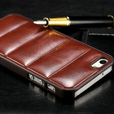 Luxury Soft Leather Back PC Fitted Cover Case For Apple iPhone 4 S 5 5S 6 Plus