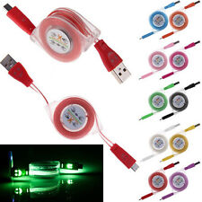 1M Retractable Visible LED Light Micro USB Charging Sync Data Cable For Android