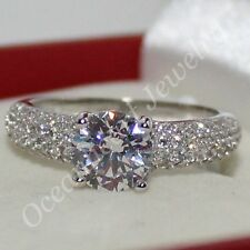 Lady's Round White Sapphire 925 Silver Eternal CZ Paved Wedding Ring Size 5-9