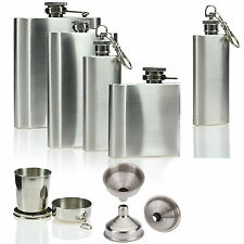 2 4 6 8 oz Stainless Steel Hip Flask Pocket Drink Whisky Liquor Holder Funnel