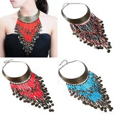 Vintage Golden Chain Resin Seed Beads Tassels Coins Statement Pendant Necklace