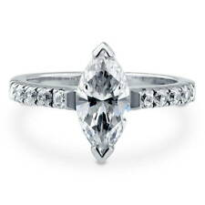 BERRICLE Sterling Silver Marquise Cut CZ Solitaire Engagement Ring 1.92 Carat