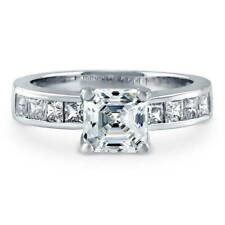 BERRICLE Sterling Silver 3.03 Carat Asscher Cut CZ Solitaire Engagement Ring