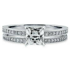 BERRICLE Sterling Silver Princess CZ Solitaire Engagement Wedding Ring Set