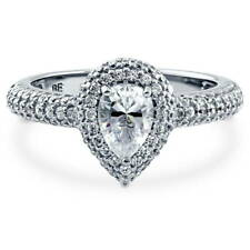 BERRICLE Sterling Silver 1.2 Carat Pear Cut CZ Halo Promise Engagement Ring