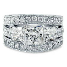 BERRICLE Sterling Silver Princess CZ 3 Stone Engagement Stackable Ring Set