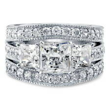 BERRICLE Sterling Silver Princess CZ 3-Stone Engagement Ring Set 4.15 Carat