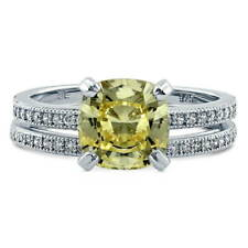 BERRICLE Silver Cushion Canary Yellow CZ Solitaire Engagement Ring Set 2.28 CTW