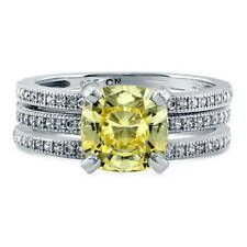 BERRICLE Silver Cushion Canary Yellow CZ Solitaire Engagement Ring Set 2.41 CTW