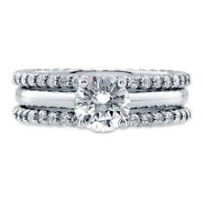 BERRICLE Sterling Silver Round CZ Solitaire Engagement Ring Set 2.11 Carat