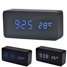 Temperature Sounds Control LED electronic desktop Wooden Digital Alarm Clock