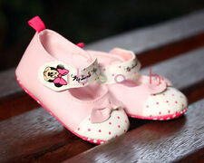 Baby Girl Minnie Mouse Mary Jane Crib Shoes Size Newborn to 18 Months