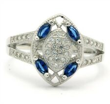 .925 Sterling Silver, Sapphire & AAA Grade Australian Cz's Vintage Style Ring