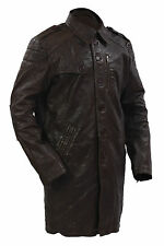 Infinity Men's Long Military Soft Distressed Brown Leather Trench Coat