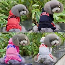 USA Flag Letter Pet Puppy Dog Coat Jacket Hoodie Jumpsuit Cloth Chihuahua Teddy