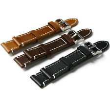 Genuine Leather Mock  Watch Strap Band Mens Padded Stainless Steel Buckle