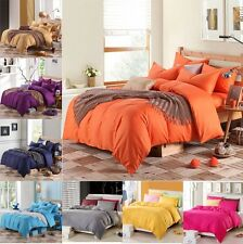 100% Cotton Solid  Bed Doona Duvet Quilt Cover And Pillowcases Set Or Flat Sheet