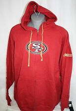NEW Mens MAJESTIC San Francisco 49ers NFL Red Pace Full Stitched Zip Up Hoodie