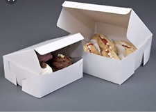250 x Fold Flat Cake Boxes  Cup Cake Muffin White Cardboard Cake Box 3 sizes