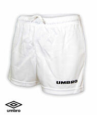 Umbro Official Football Shorts White Embossed MB - XLB Boys Girls Age 9 - 14