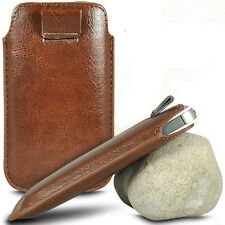 VARIOUS MOBILE PHONE BROWN PU LEATHER PULL TAB POUCH CASE COVER HOLSTER SKIN