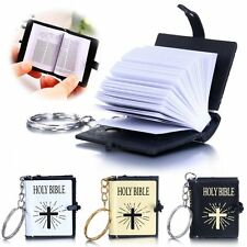 New Golden Cross Key Chain Ring The Old Testament Mini Holy Bible Book Case Gift