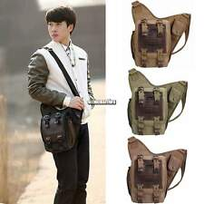 Men's Canvas Leather Shoulder Hiking Military Messenger Sling school Travel Bag