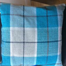 "Checked Chenille Cushion Covers 43cm / 17"" Red / Teal / Grey Contemporary Modern"