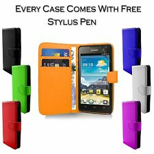 Pu Leather Magnetic Side Open Flip Wallet Holder Case Cover For Huawei Y635 UK