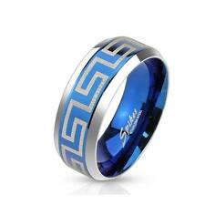 Ring stainless steel silver blue 6/8mm wide Laser Engraving Maze 47 15 69 22