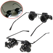 20 X Watch Magnifier Jeweler Magnifying Eye Glasses Loupe Lens Repair LED Lights