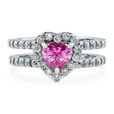 Silver Heart Shaped Pink Cubic Zirconia CZ Halo Engagement Ring 1.89 CT