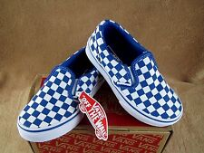 NEW VANS CLASSIC SLIP ON CHECKERBOARD SHOE CLASSIC BLUE YOUTH 10.5, 11,11.5