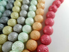 2 Strands Glass 10mm Sugared Round Pearl Beads (45 beads) You Pick Color