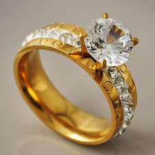 Stylish Womens Yellow Gold Filled Clear Ball CZ Promise Love Band Ring Size 6-9