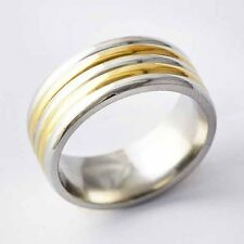 Yellow Gold Filled/stainless steel Mens Promise Love Band Ring Size 7,8,9,10,11