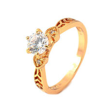 Vintage Hollow Heart 18K Gold Plated Clear Round CZ Promise Love Band Ring