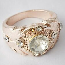 Sparkling Womens Gold Filled Clear CZ Promise Love Band Ring Size 8-9