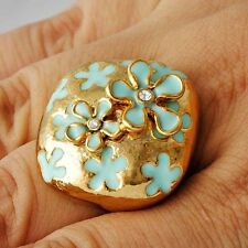 Modern Yellow Gold Filled CZ Enamel Flower Promise Love Band Ring Size 7,9