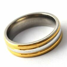 Ripped Yellow Gold Filled/Silver Unisex Band Promise Love Band Ring Size 8-12