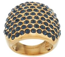 QVC Bold Blue Crystal Cocktail Ring Stainless Steel Yellow Gold Tone  J292748