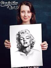 Sexy Marilyn Monroe Portrait Original Sketch Prints - Poster - Gifts For Guys