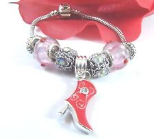European Style 925 Sterling Pink Murano Glass Beads and Red Cowboy Boot