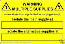 Warning Multiple Supplies Electrical Safety Labels