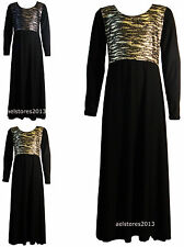 Girls Shiny Foil Zebra Print Long Maxi Dress Abaya Islamic 3-13 Years