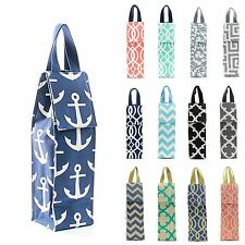 Insulated Wine Bottle Cooler Carrier Tote Gift Bag Thermal Lined Keeps Cold